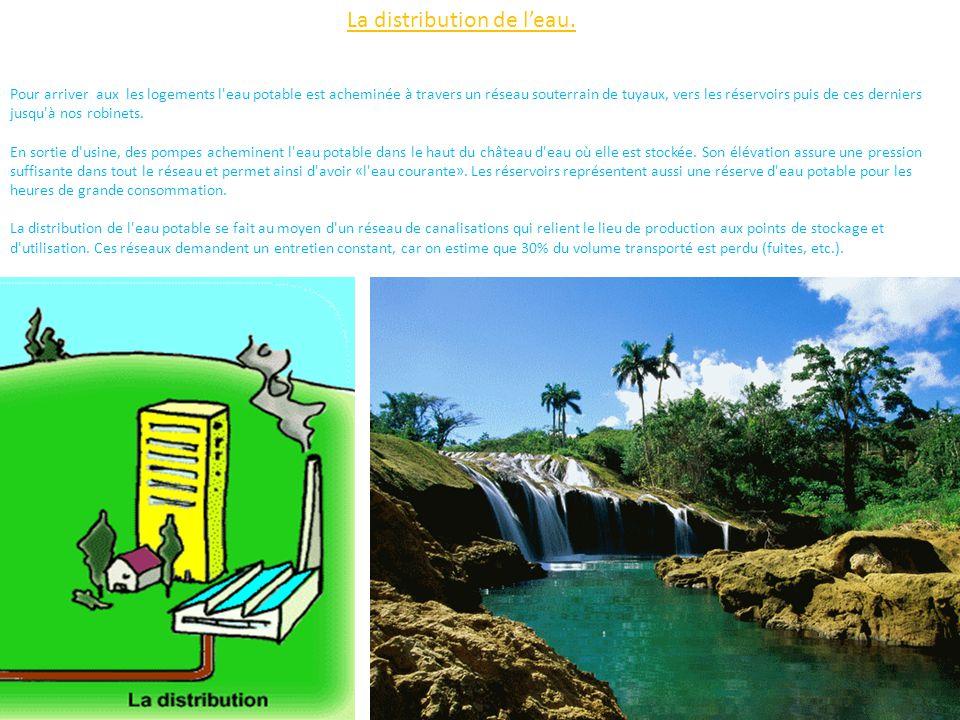 La distribution de l'eau.
