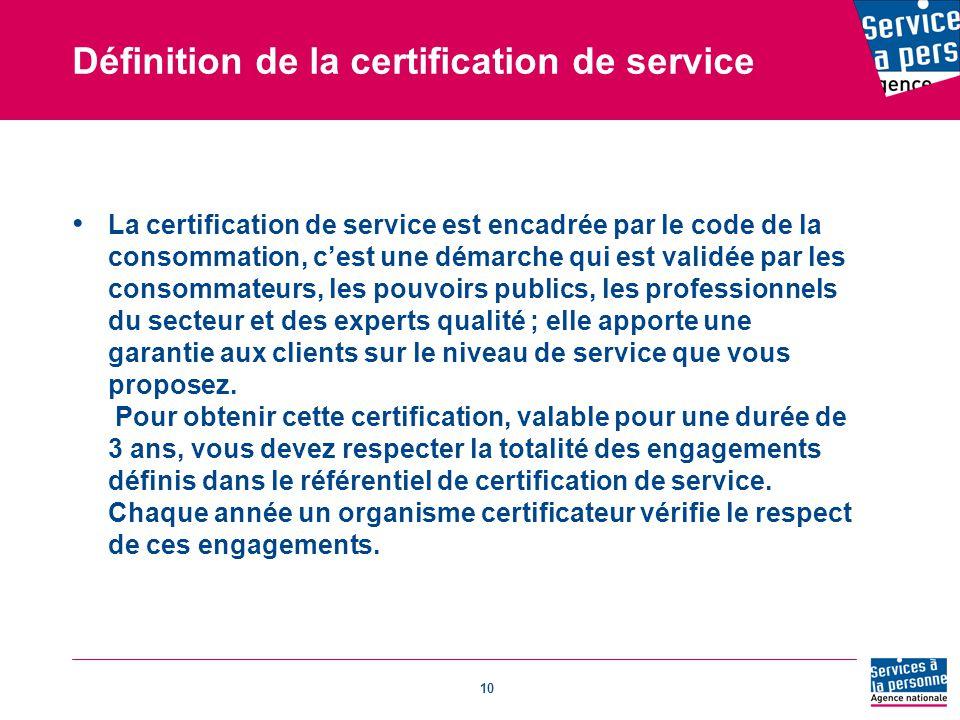 Définition de la certification de service