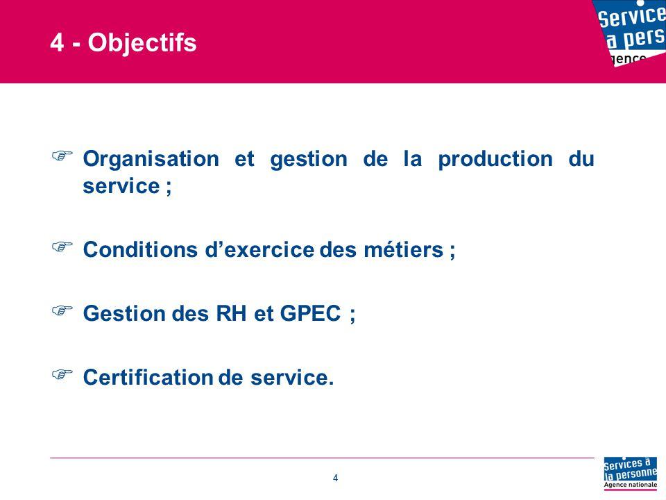 4 - Objectifs Organisation et gestion de la production du service ;