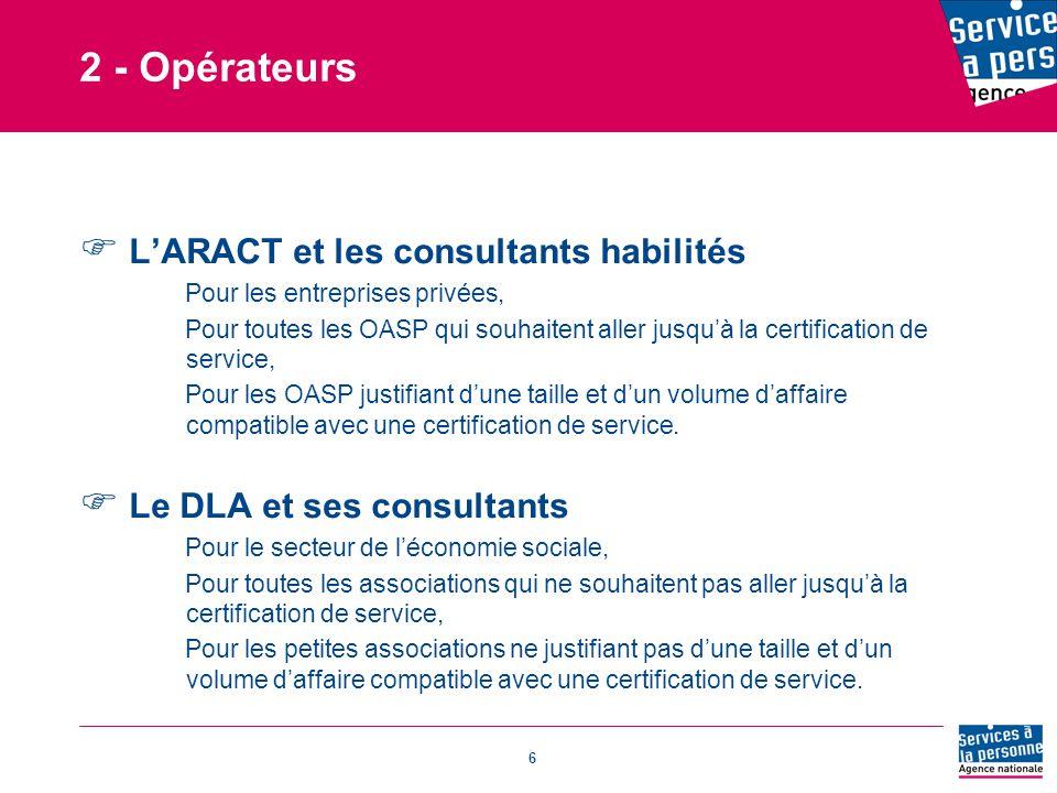 2 - Opérateurs L'ARACT et les consultants habilités