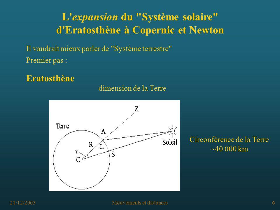 L expansion du Système solaire d Eratosthène à Copernic et Newton