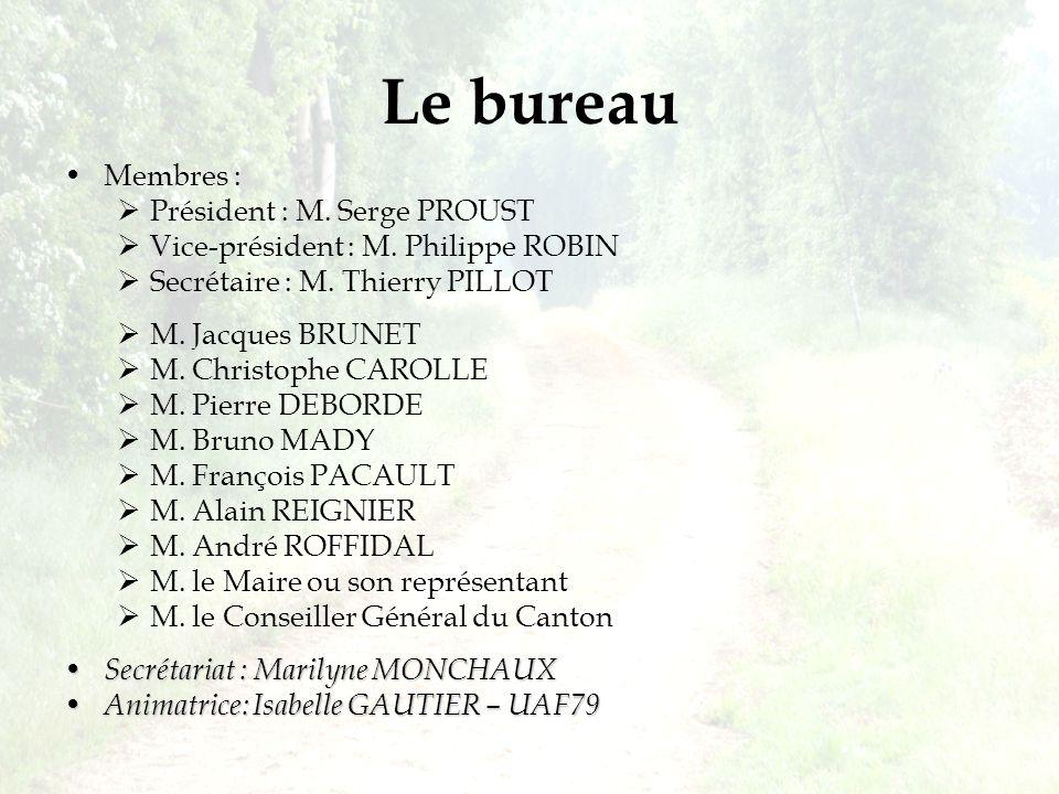 Le bureau Membres : Président : M. Serge PROUST