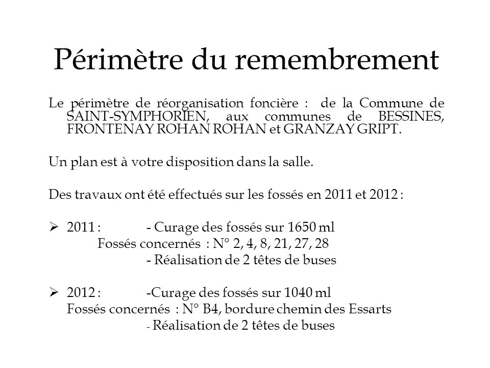 Périmètre du remembrement