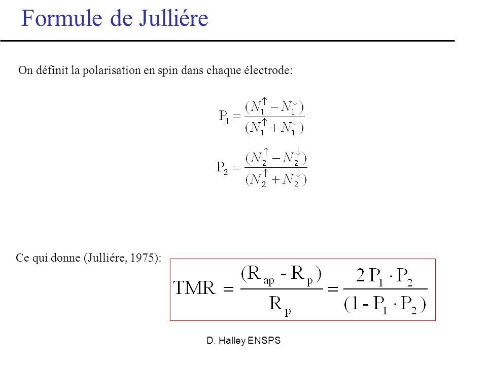 Formule de JulliéreOn définit la polarisation en spin dans chaque électrode: Ce qui donne (Julliére, 1975):