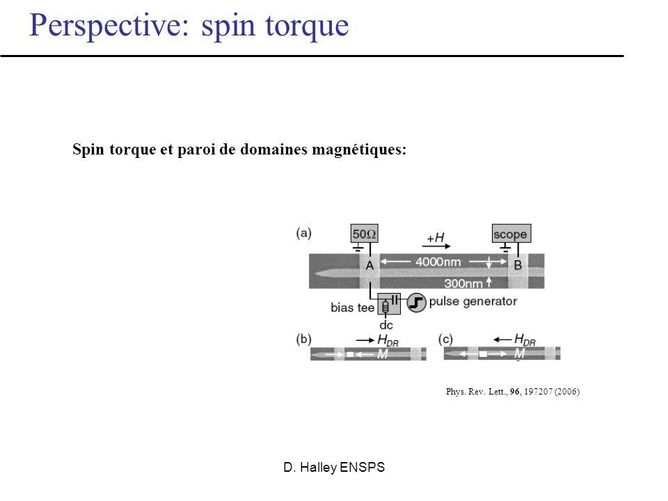 Spin torque et paroi de domaines magnétiques: