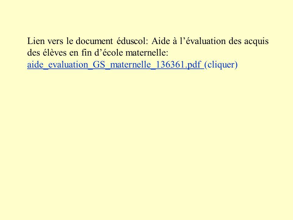 Lien vers le document éduscol: Aide à l'évaluation des acquis des élèves en fin d'école maternelle: aide_evaluation_GS_maternelle_136361.pdf (cliquer)
