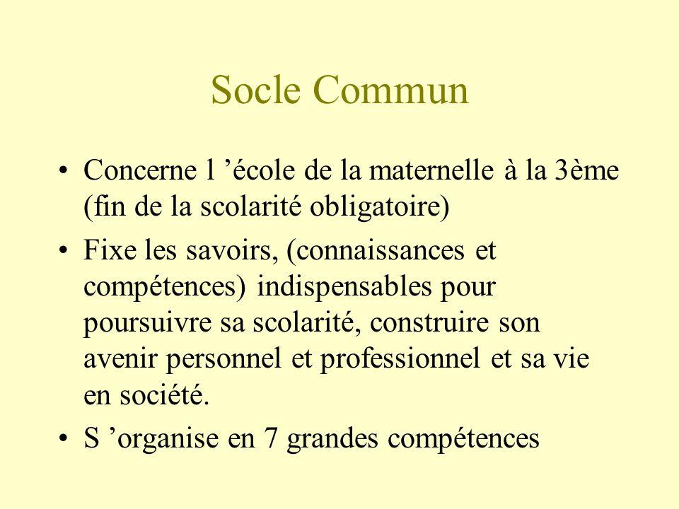 Socle Commun Concerne l 'école de la maternelle à la 3ème (fin de la scolarité obligatoire)