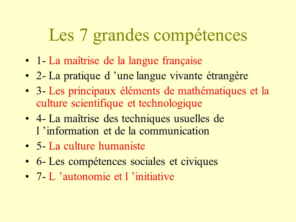Les 7 grandes compétences