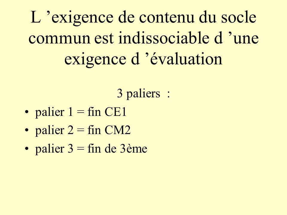 L 'exigence de contenu du socle commun est indissociable d 'une exigence d 'évaluation