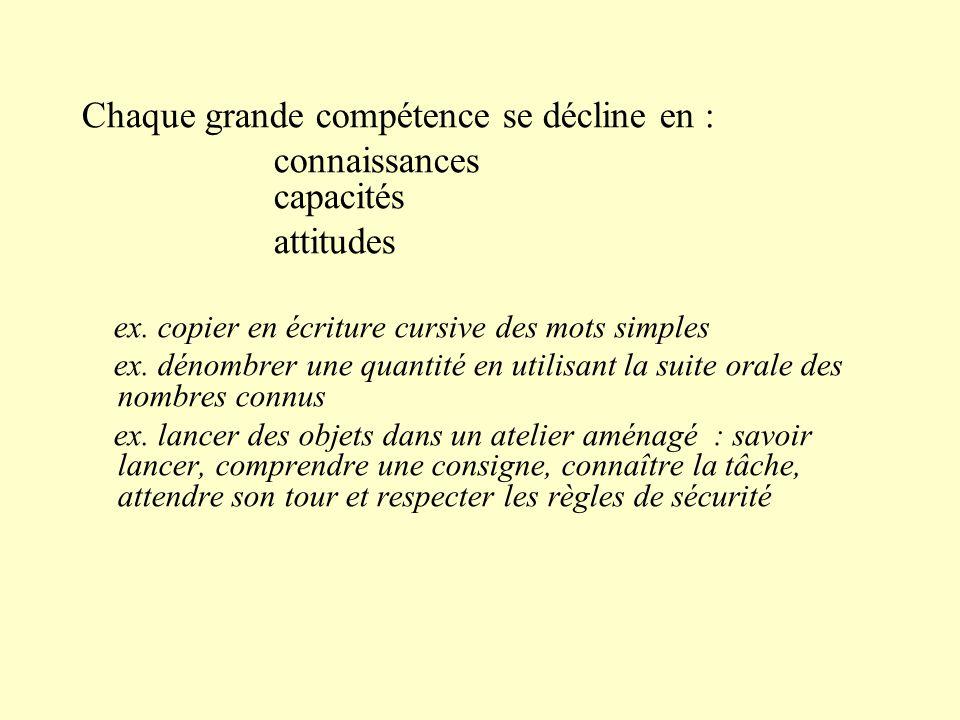 Chaque grande compétence se décline en : connaissances capacités