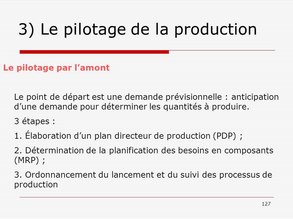 3) Le pilotage de la production