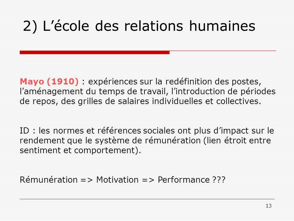 2) L'école des relations humaines
