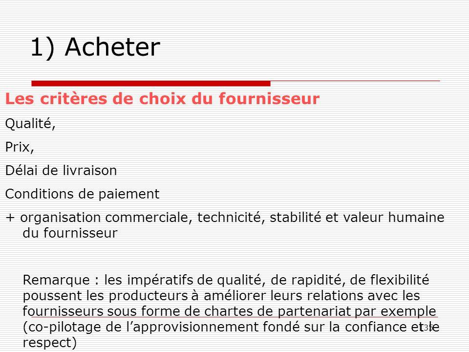 1) Acheter Les critères de choix du fournisseur Qualité, Prix,