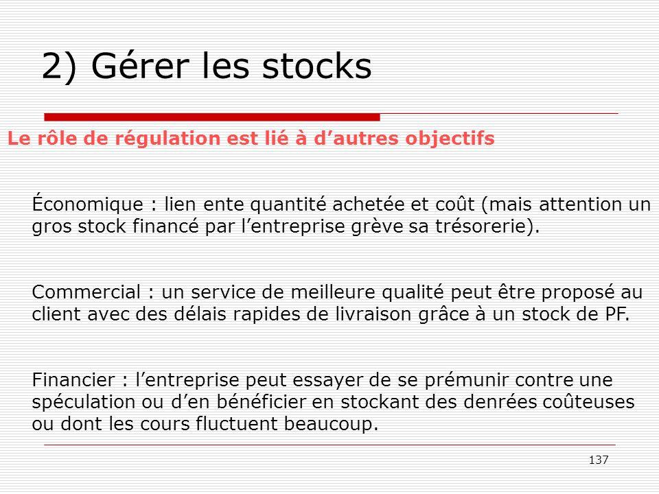 2) Gérer les stocks Le rôle de régulation est lié à d'autres objectifs