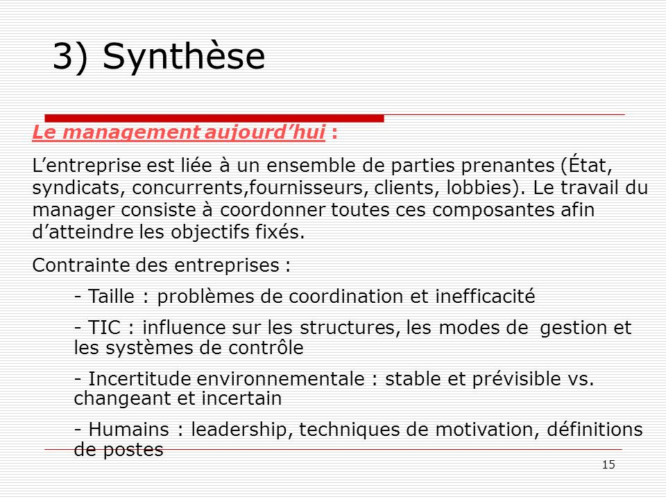 3) Synthèse Le management aujourd'hui :