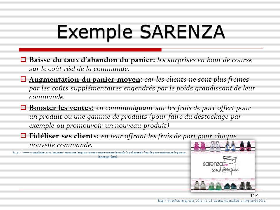 Exemple SARENZA Baisse du taux d'abandon du panier: les surprises en bout de course sur le coût réel de la commande.