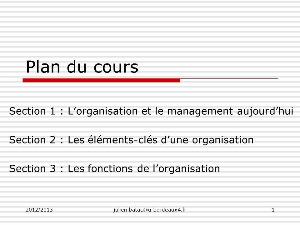 Plan du cours Section 1 : L'organisation et le management aujourd'hui
