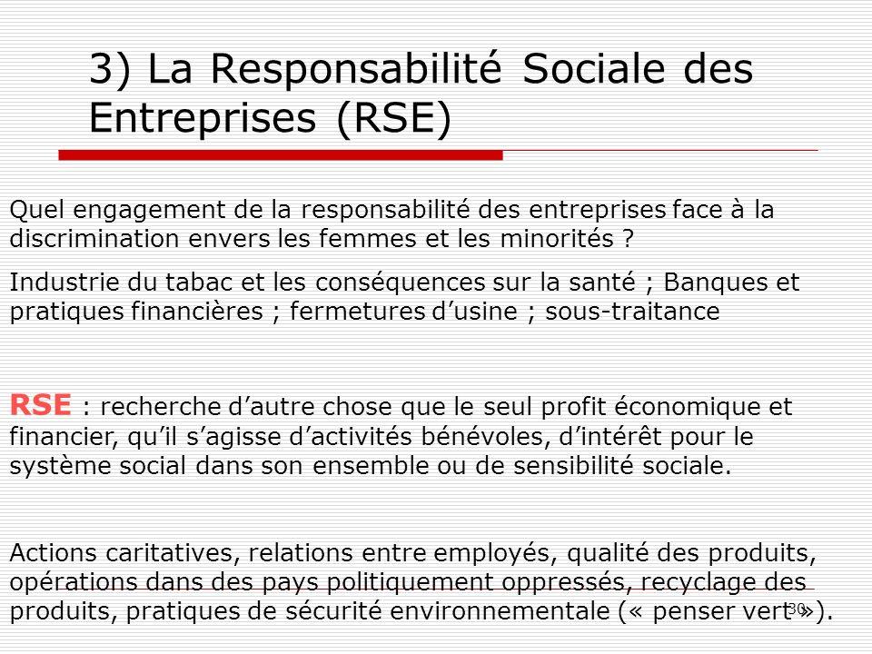 3) La Responsabilité Sociale des Entreprises (RSE)