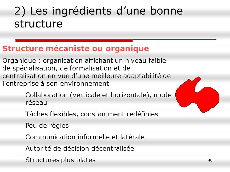 2) Les ingrédients d'une bonne structure