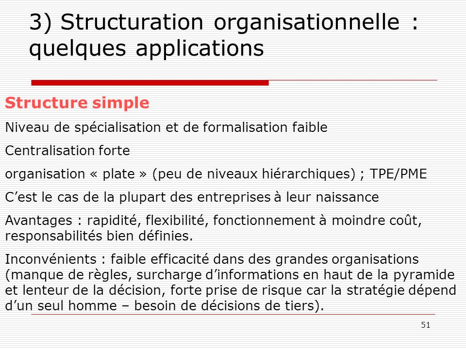 3) Structuration organisationnelle : quelques applications