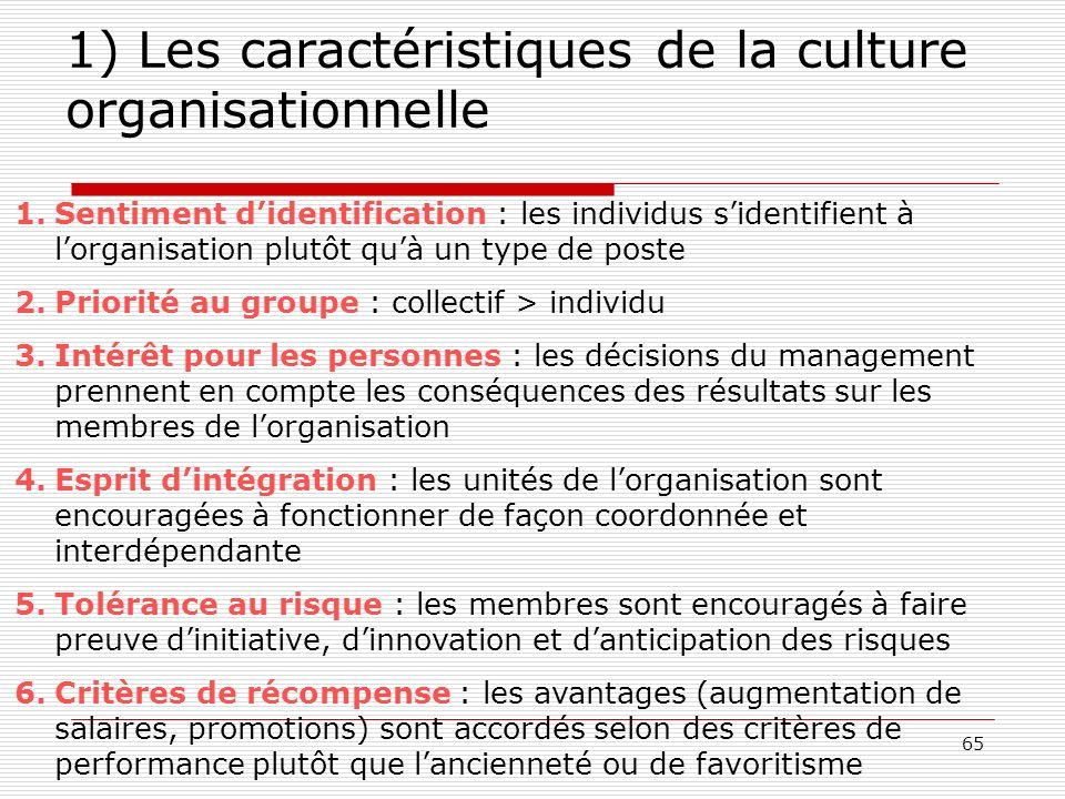 1) Les caractéristiques de la culture organisationnelle