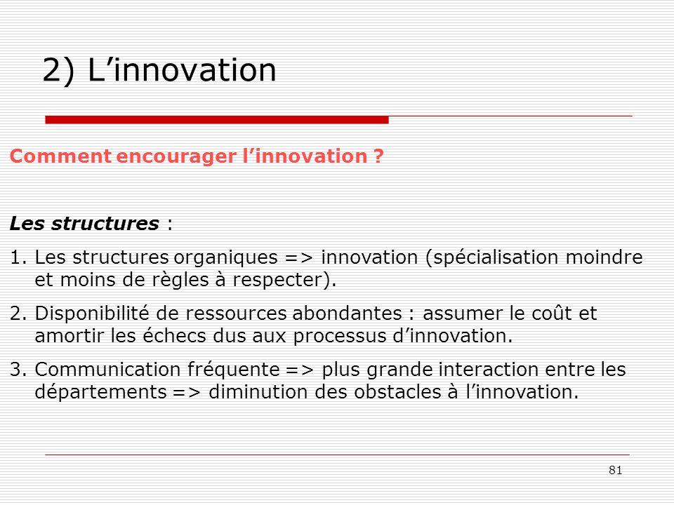 2) L'innovation Comment encourager l'innovation Les structures :