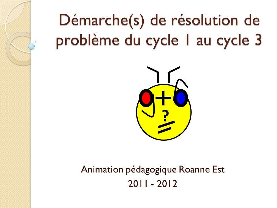 Démarche(s) de résolution de problème du cycle 1 au cycle 3
