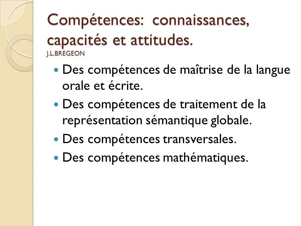 Compétences: connaissances, capacités et attitudes. J.L.BREGEON