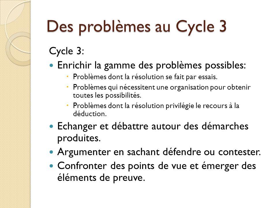 Des problèmes au Cycle 3 Cycle 3: