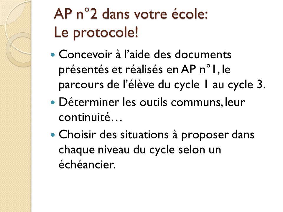 AP n°2 dans votre école: Le protocole!