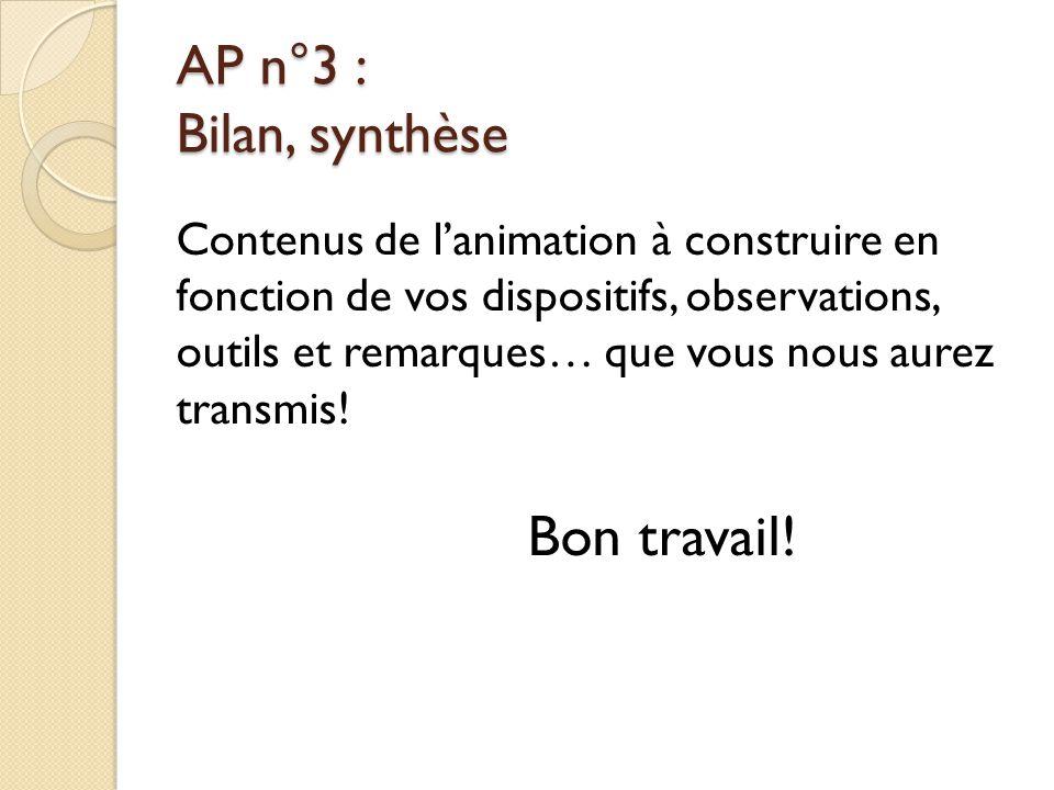 Bon travail! AP n°3 : Bilan, synthèse