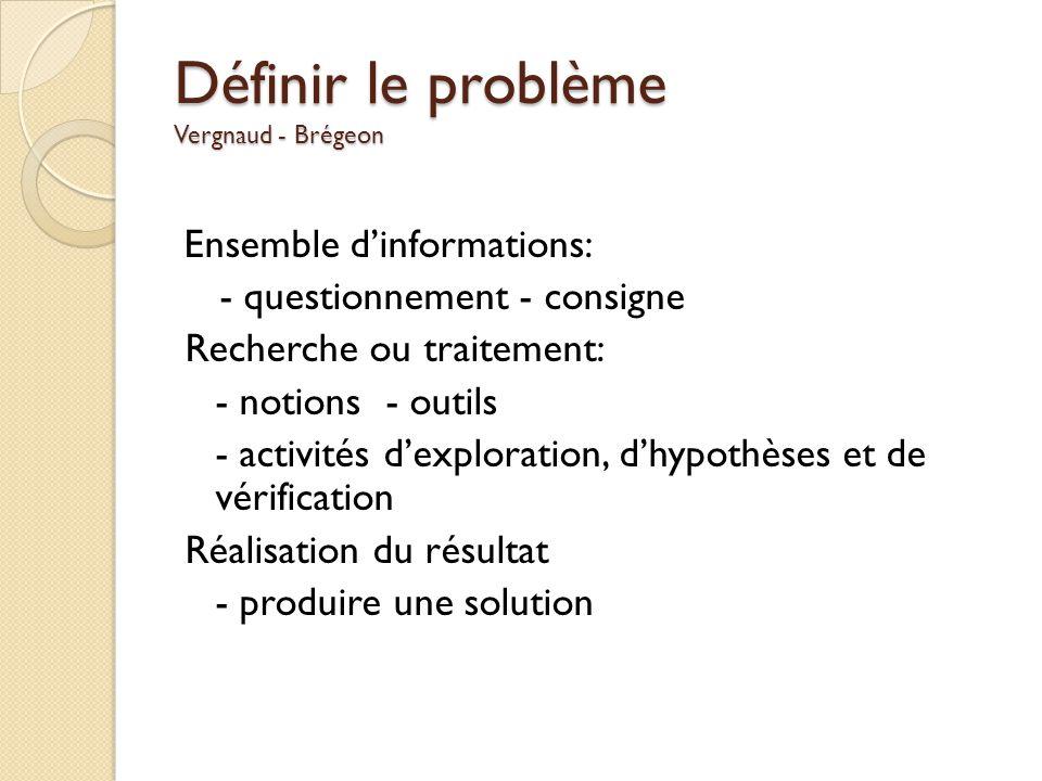 Définir le problème Vergnaud - Brégeon