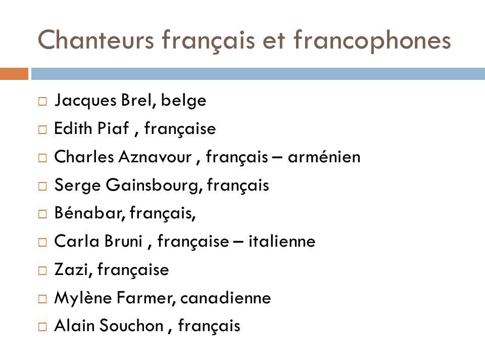 Chanteurs français et francophones