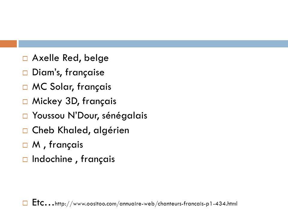 Axelle Red, belge Diam's, française. MC Solar, français. Mickey 3D, français. Youssou N'Dour, sénégalais.