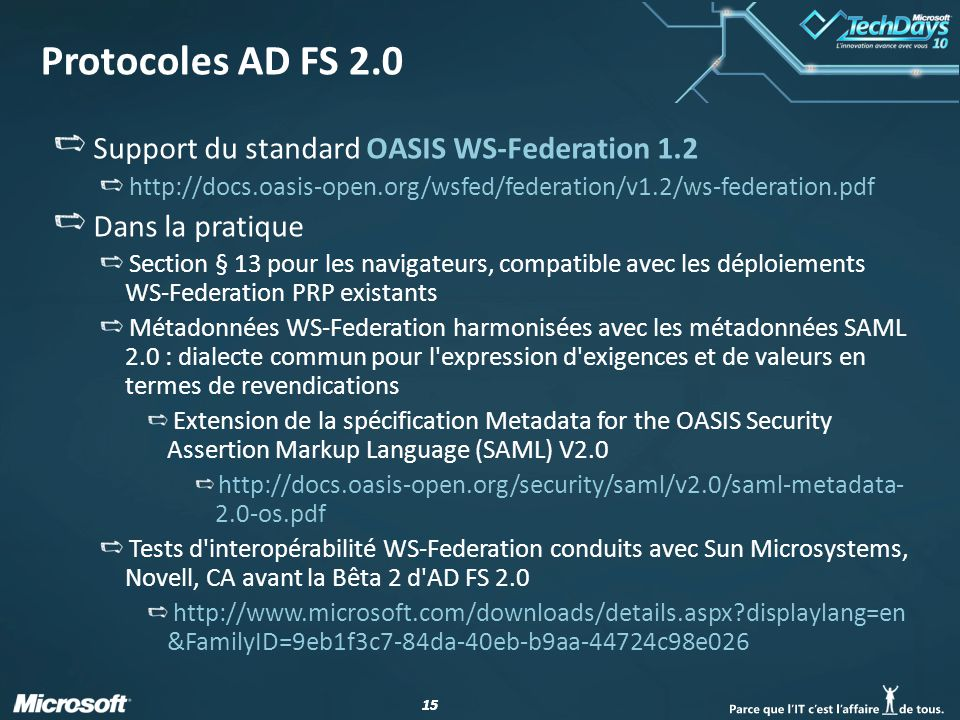 Protocoles AD FS 2.0 Support du standard OASIS WS-Federation 1.2