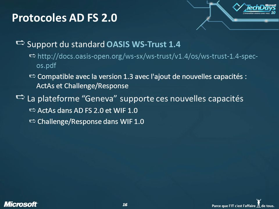 Protocoles AD FS 2.0 Support du standard OASIS WS-Trust 1.4