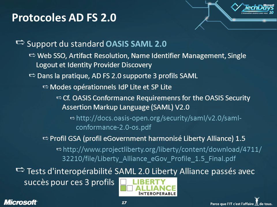 Protocoles AD FS 2.0 Support du standard OASIS SAML 2.0