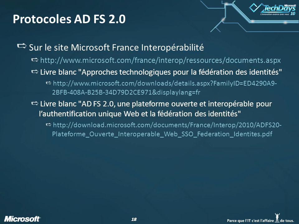 Protocoles AD FS 2.0 Sur le site Microsoft France Interopérabilité
