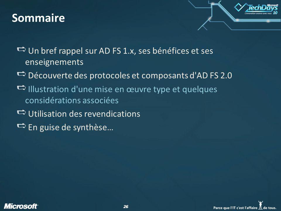 Sommaire Un bref rappel sur AD FS 1.x, ses bénéfices et ses enseignements. Découverte des protocoles et composants d AD FS 2.0.