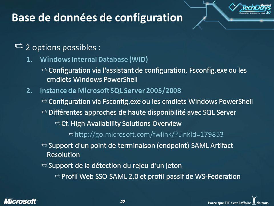 Base de données de configuration