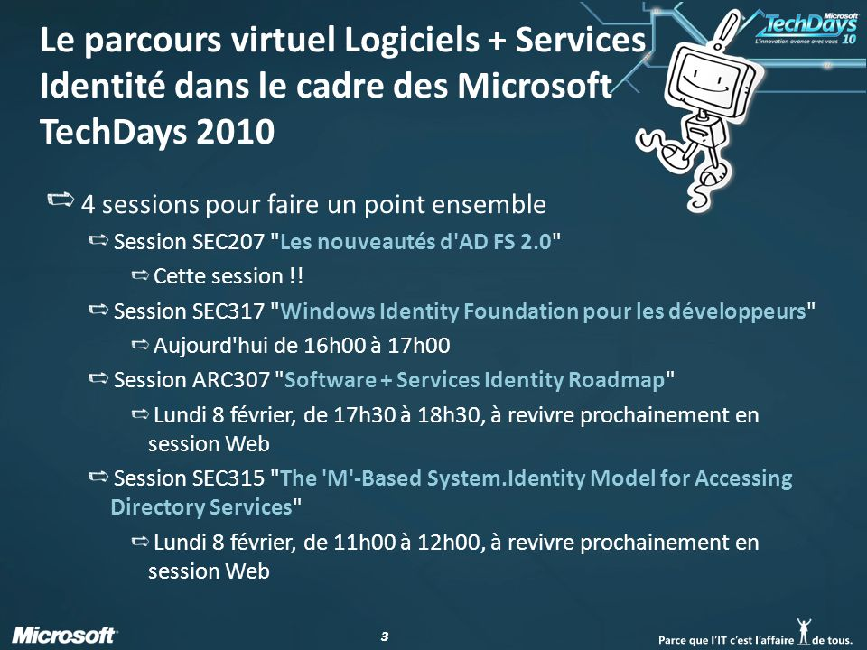 Le parcours virtuel Logiciels + Services Identité dans le cadre des Microsoft TechDays 2010