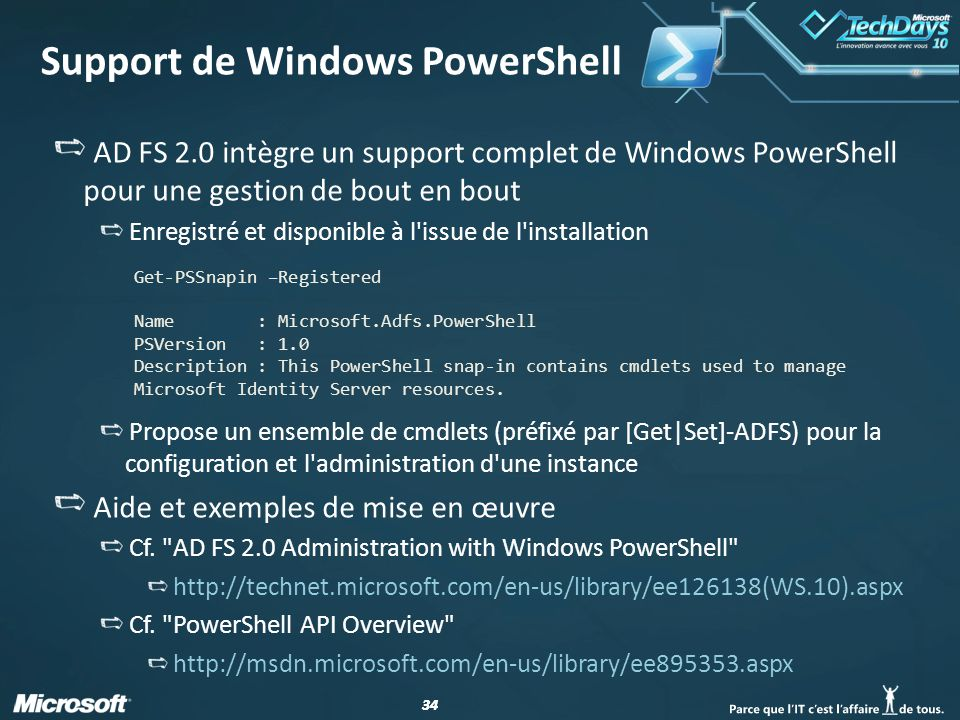 Support de Windows PowerShell