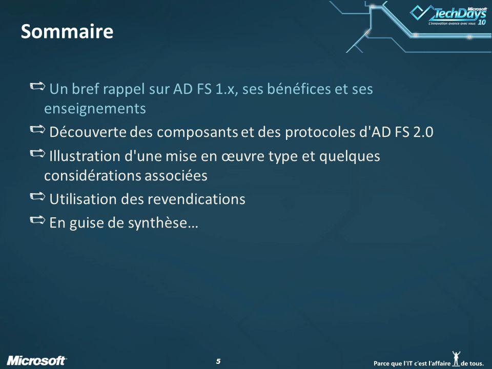Sommaire Un bref rappel sur AD FS 1.x, ses bénéfices et ses enseignements. Découverte des composants et des protocoles d AD FS 2.0.