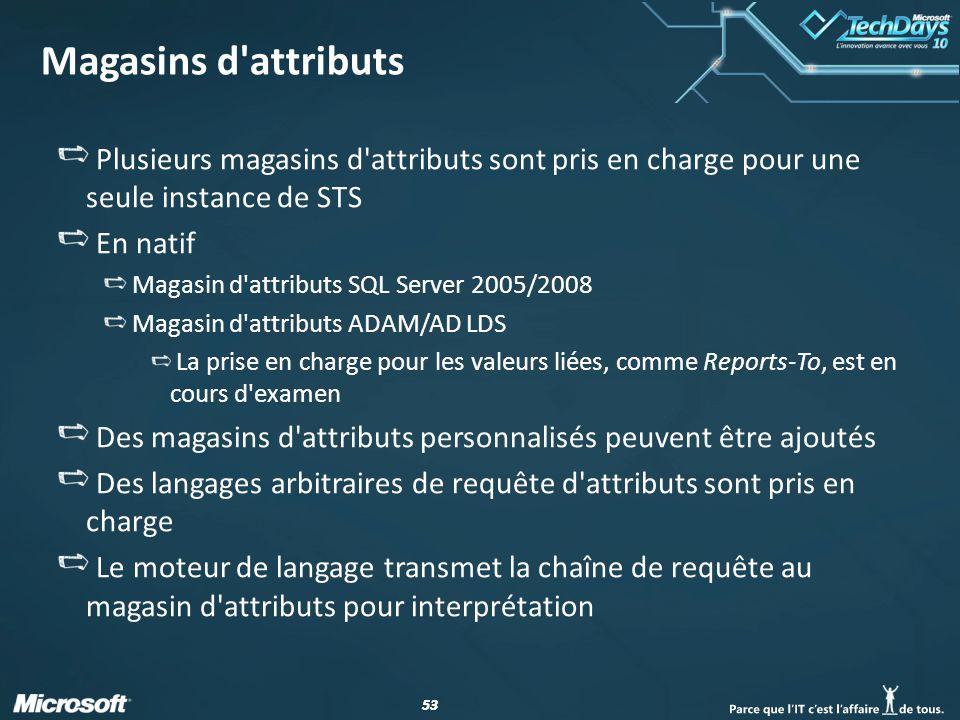 Magasins d attributs Plusieurs magasins d attributs sont pris en charge pour une seule instance de STS.