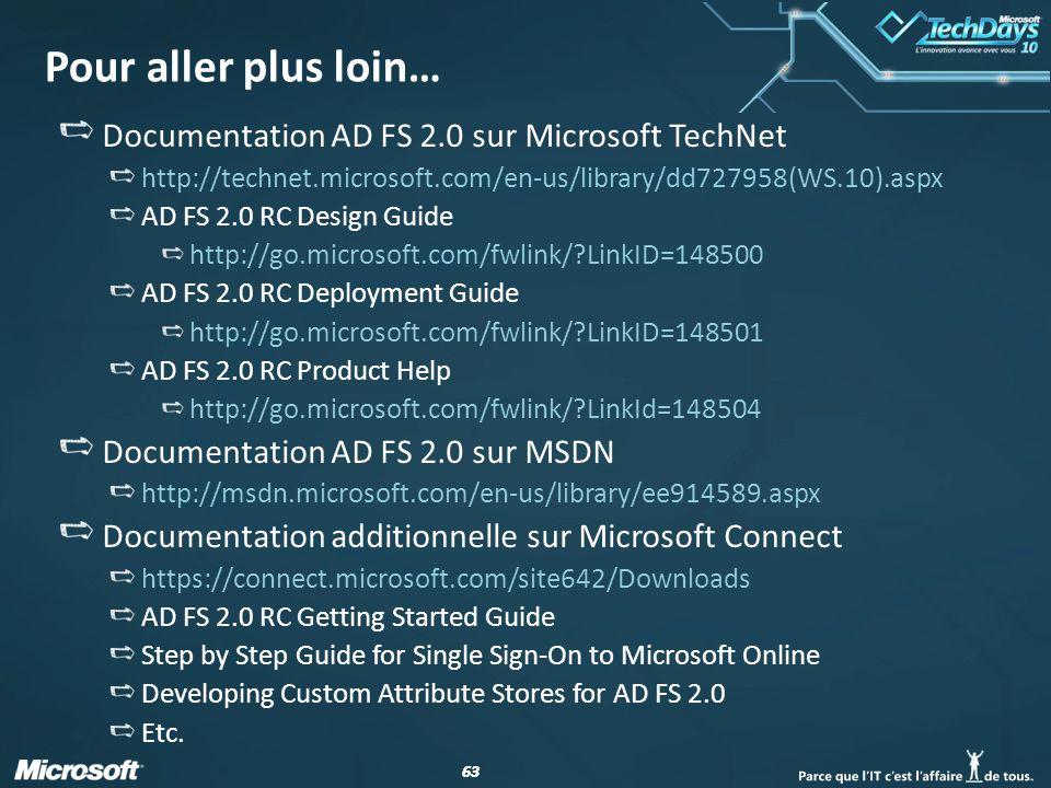 Pour aller plus loin… Documentation AD FS 2.0 sur Microsoft TechNet