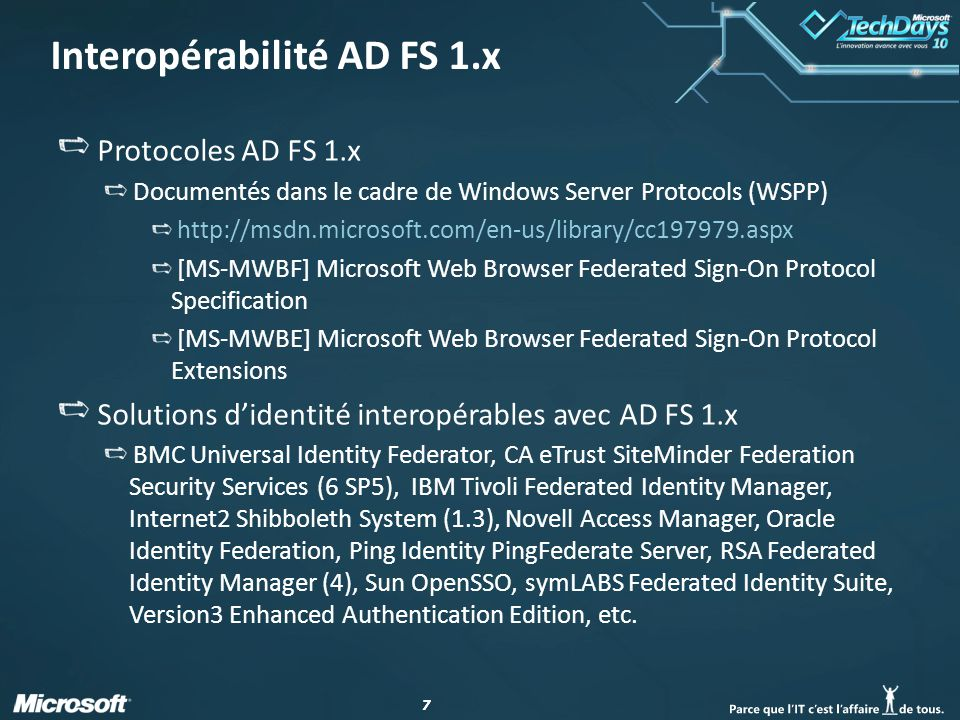 Interopérabilité AD FS 1.x