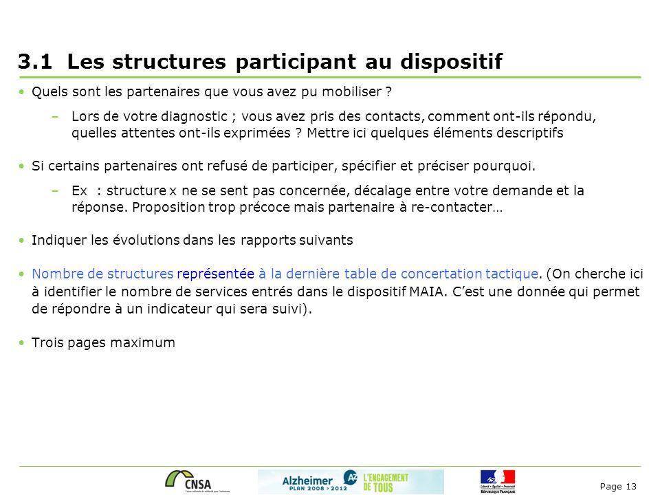 3.1 Les structures participant au dispositif
