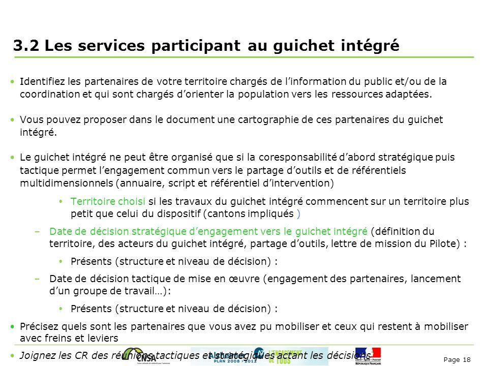3.2 Les services participant au guichet intégré