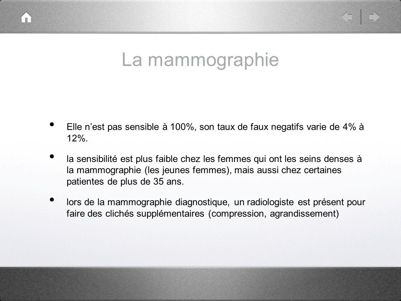 La mammographie Elle n'est pas sensible à 100%, son taux de faux negatifs varie de 4% à 12%.