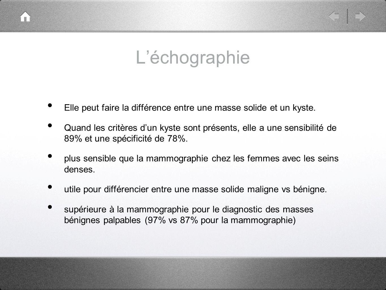 L'échographie Elle peut faire la différence entre une masse solide et un kyste.